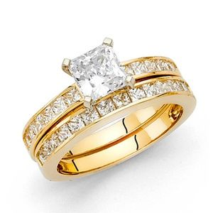 4-Prong Princess-Cut & Channel Side 1.25CT CZ Ring